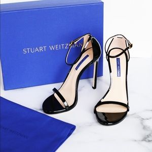 Stuart Weitzman-Black Patent Leather Nudist Heel